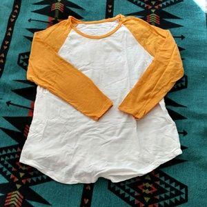 Mustard yellow & white baseball long sleeve shirt